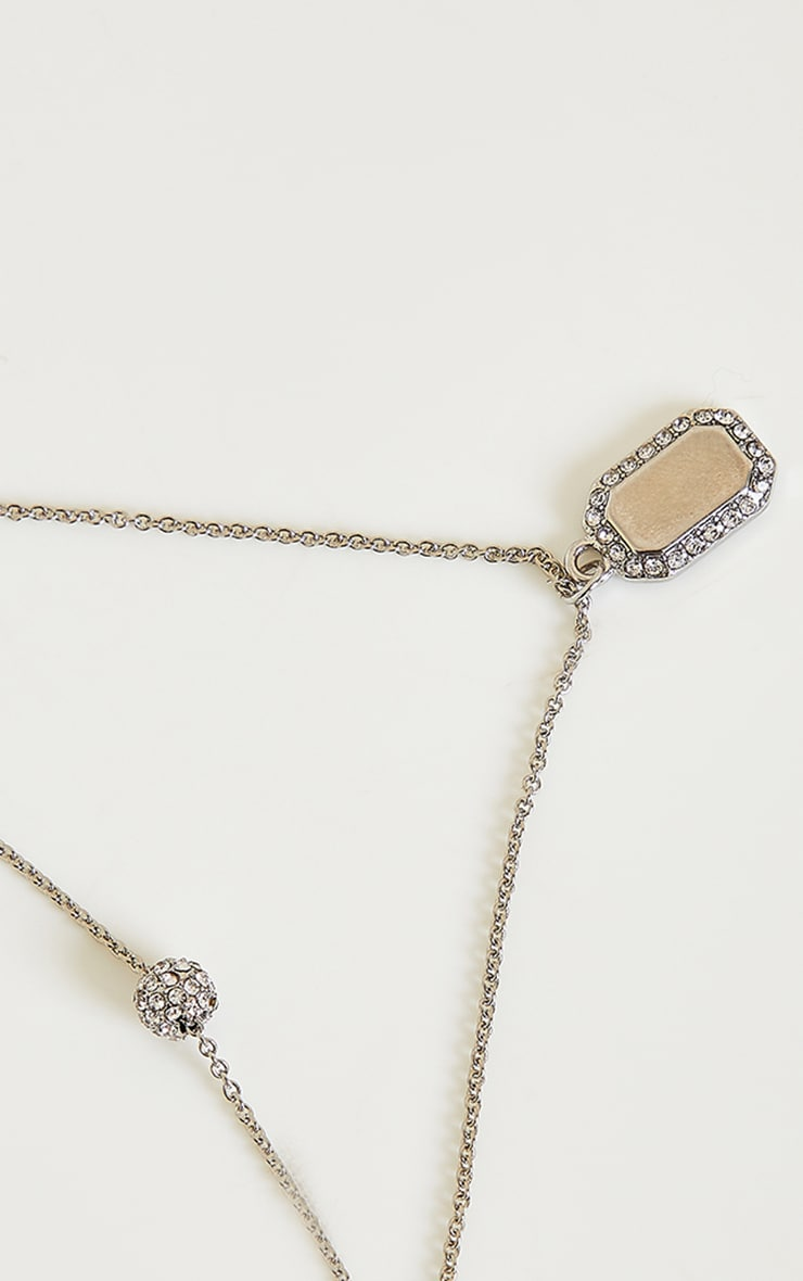 Silver Diamante Tag And Ball Charm Layering Necklace 4