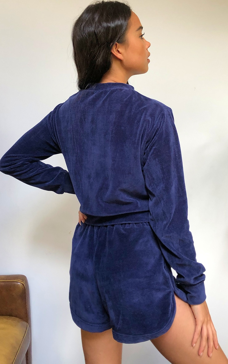 Navy Towelling Cropped Sweater 2