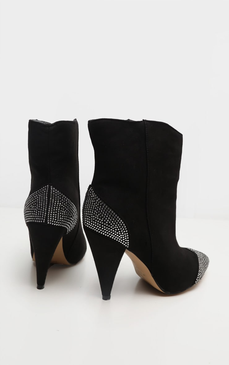Black Diamante Toe Cone Heel Ankle Boot 4