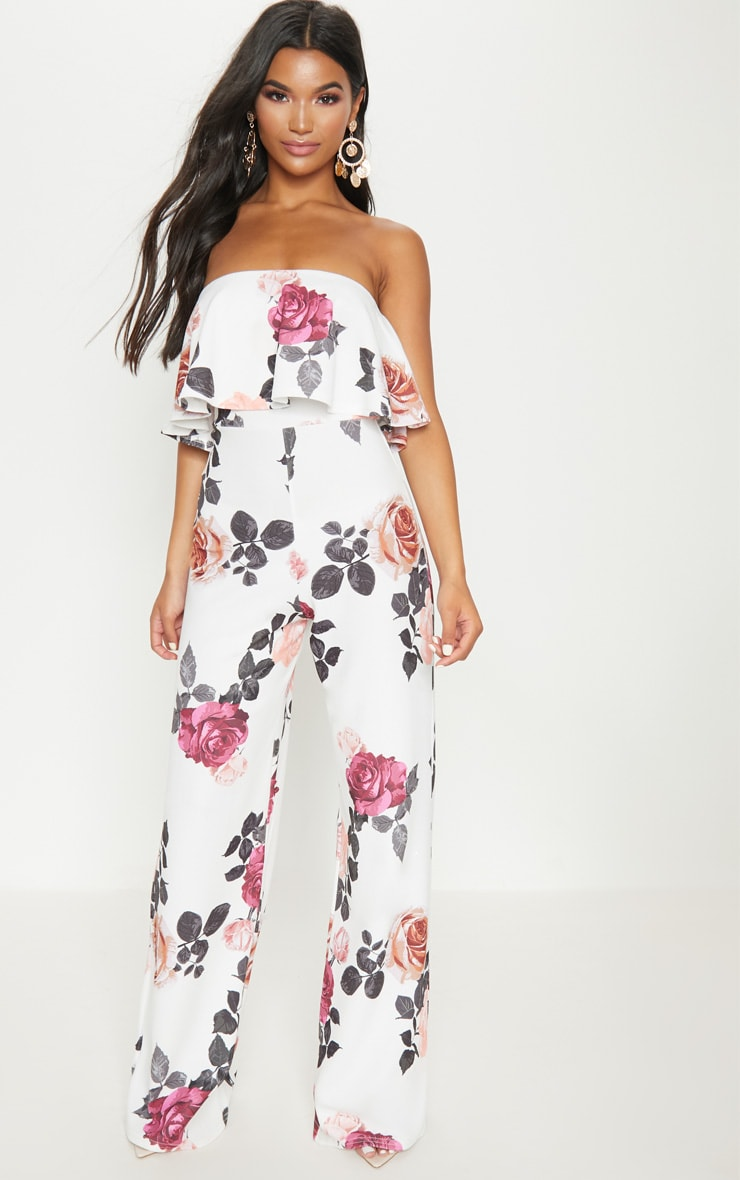 White Floral Bandeau Double Layer Jumpsuit