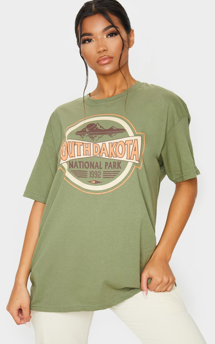 Khaki South Dakota Printed T Shirt 1