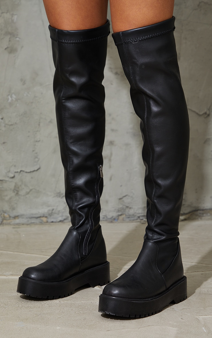 Black Chunky Sole Over The Knee High Boots 4