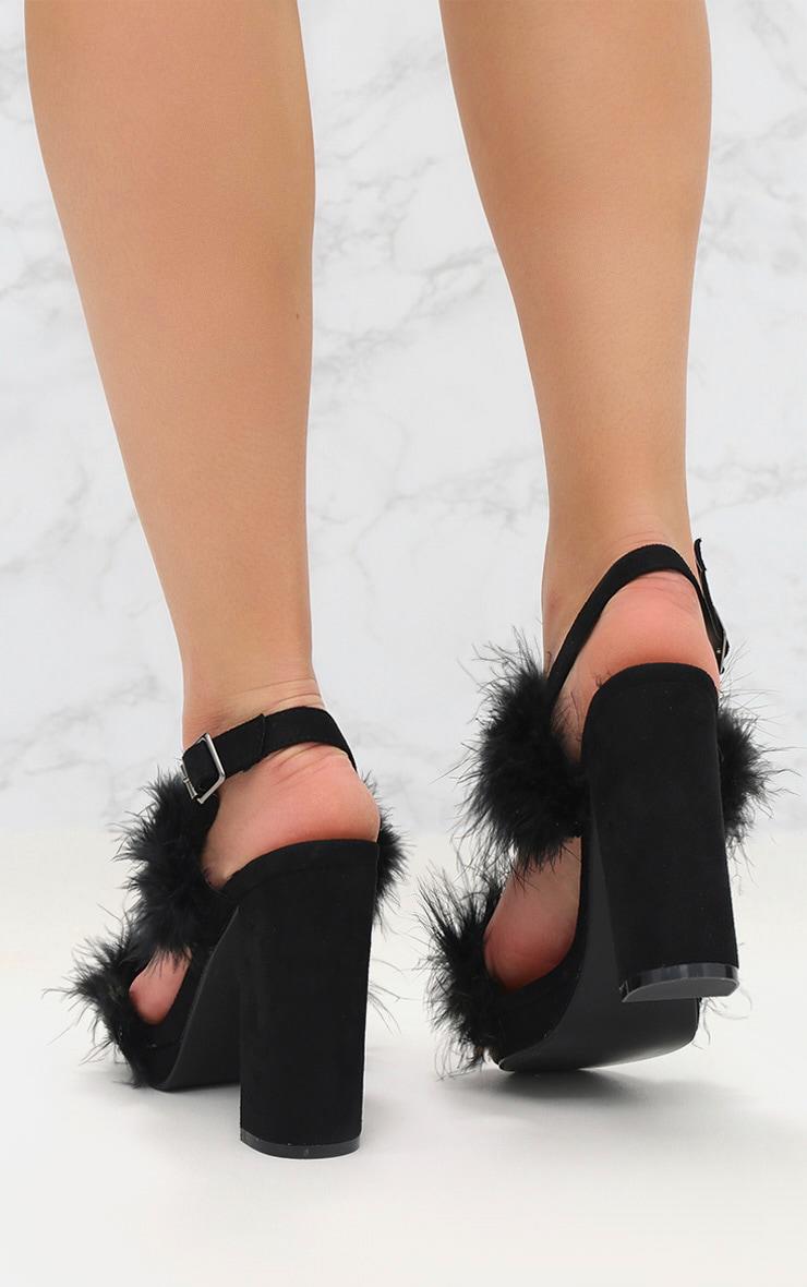 Black Twin Strap Faux Feather Platform Sandal 4