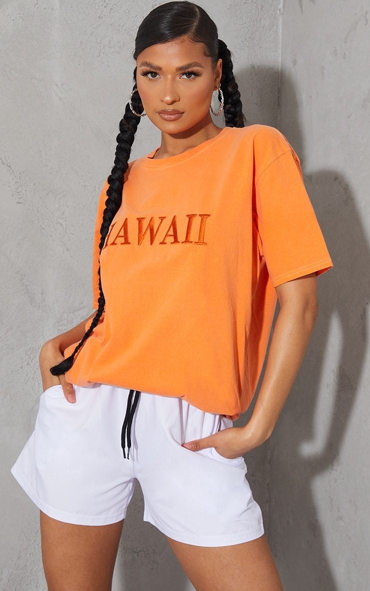 Tangerine Hawaii Embroidered Washed T Shirt 3
