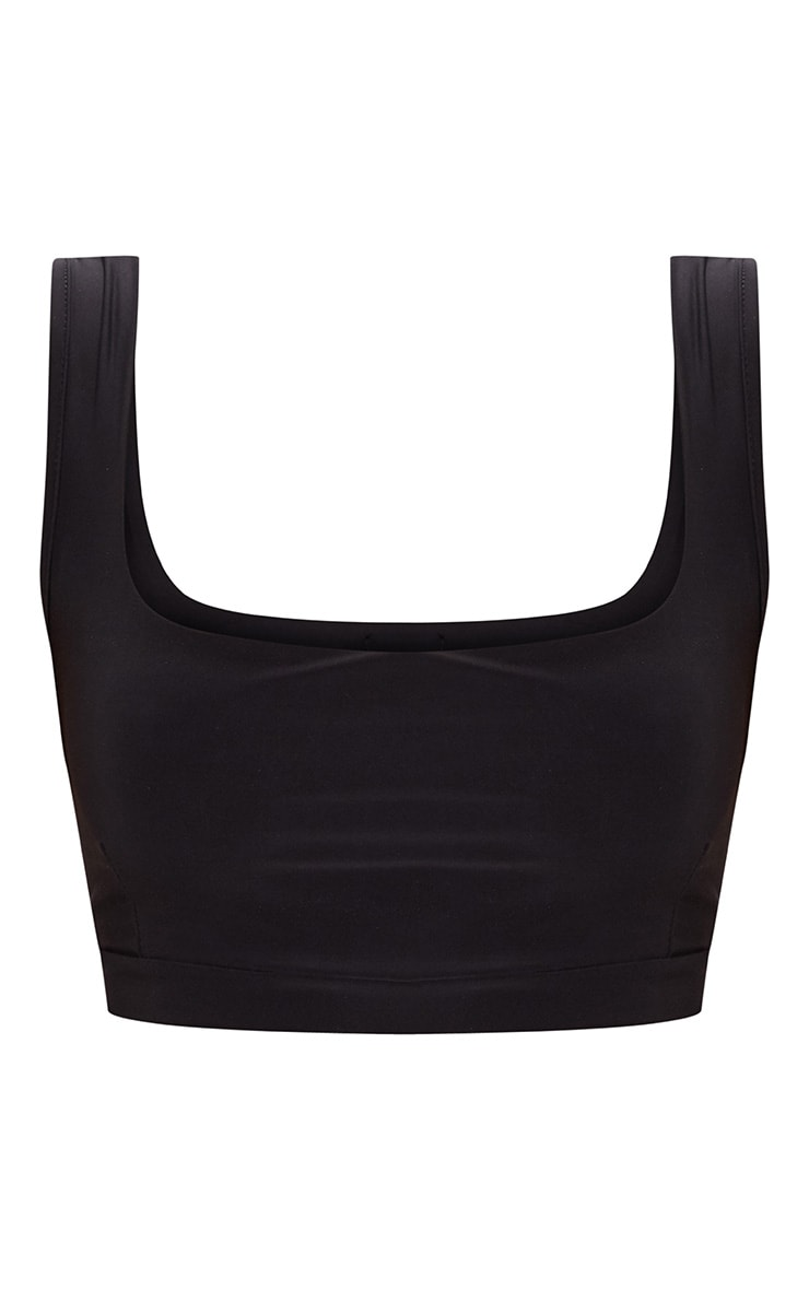 Black Second Skin Slinky Square Neck Crop Top 3