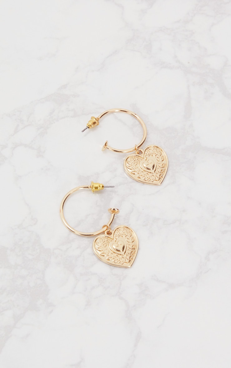 Gold Heart Drop Hoop Earrings 2