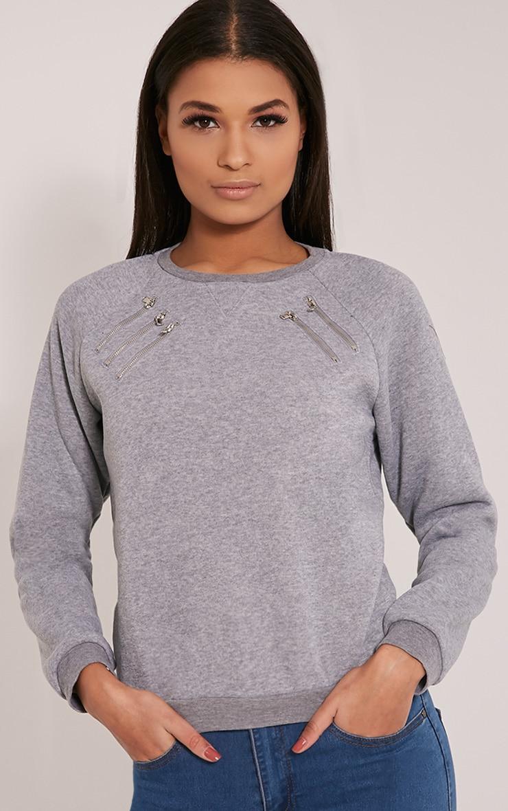 Monroe Grey Zip Detail Sweatshirt 1