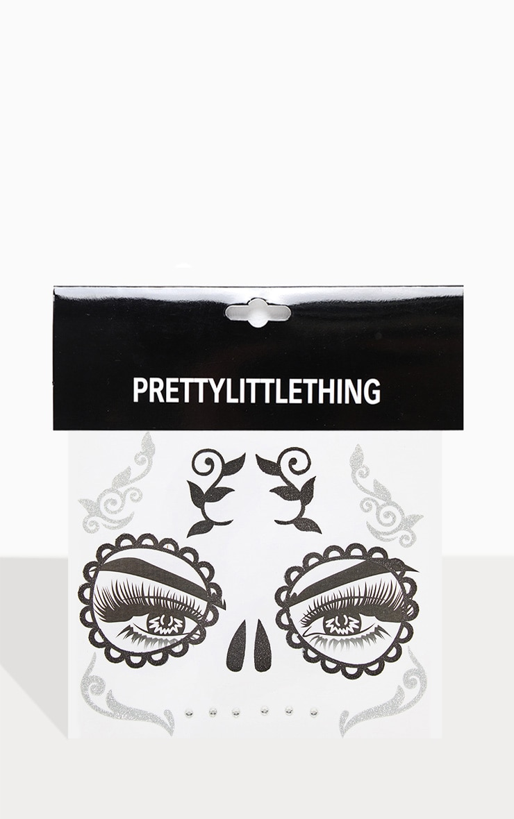 PRETTYLITTLETHING Glitter Thorn Skull Face Sticker 2