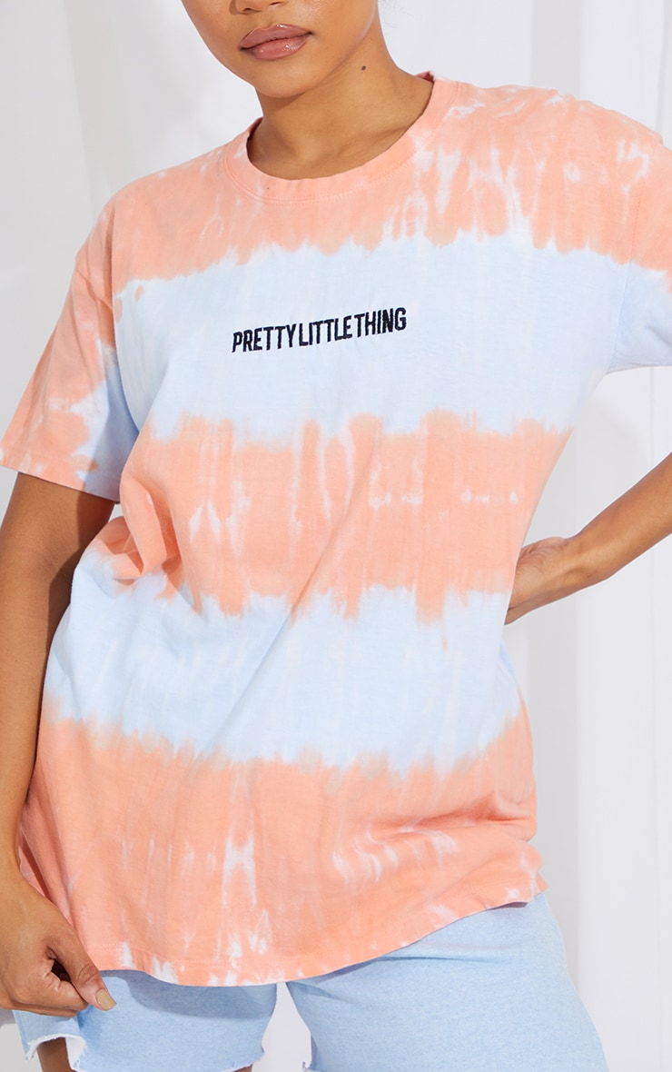 PRETTYLITTLETHING Blue Tie Dye Embroidered T Shirt 4