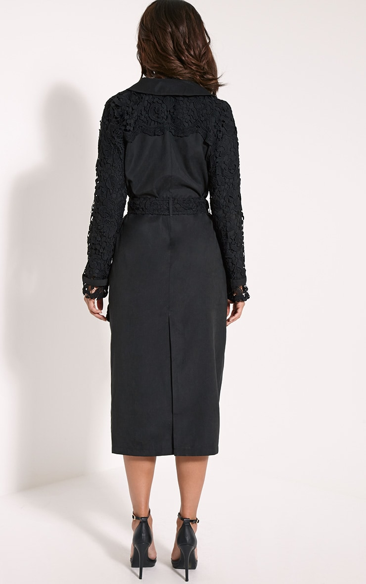 Karolina Black Crochet Lace Detail Trench Coat 2
