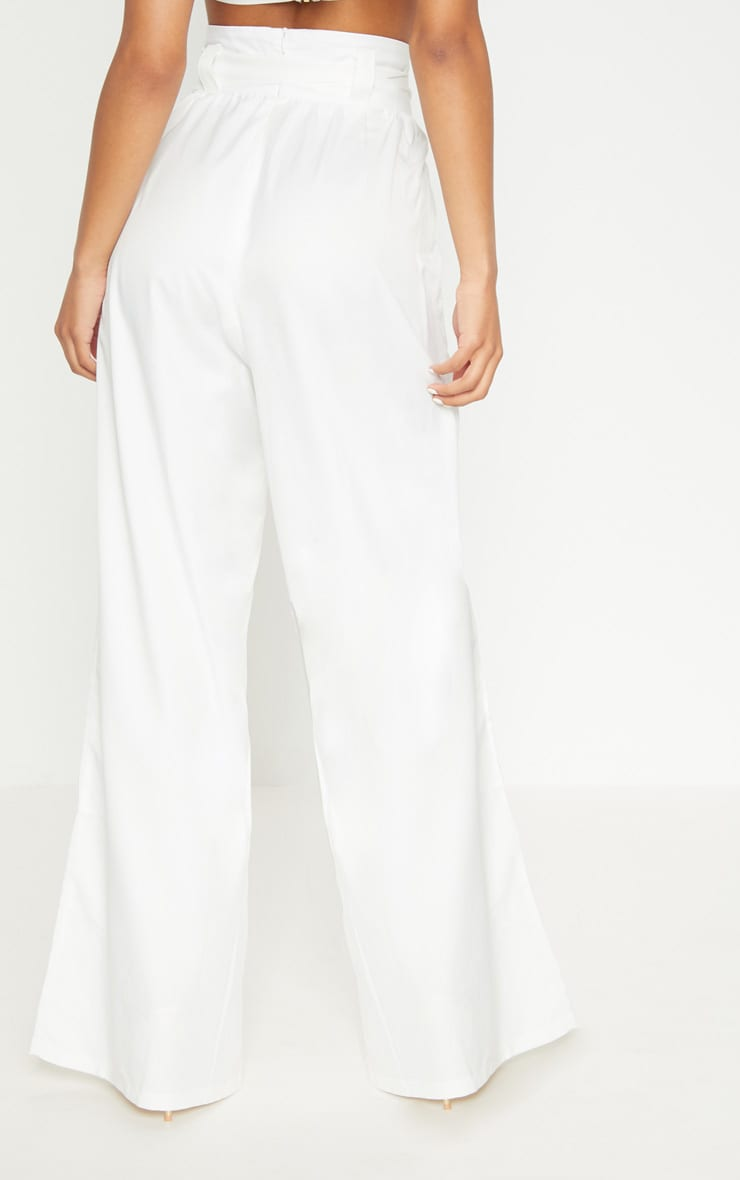 Cream Cotton High Waisted Belt Detail Trousers 4
