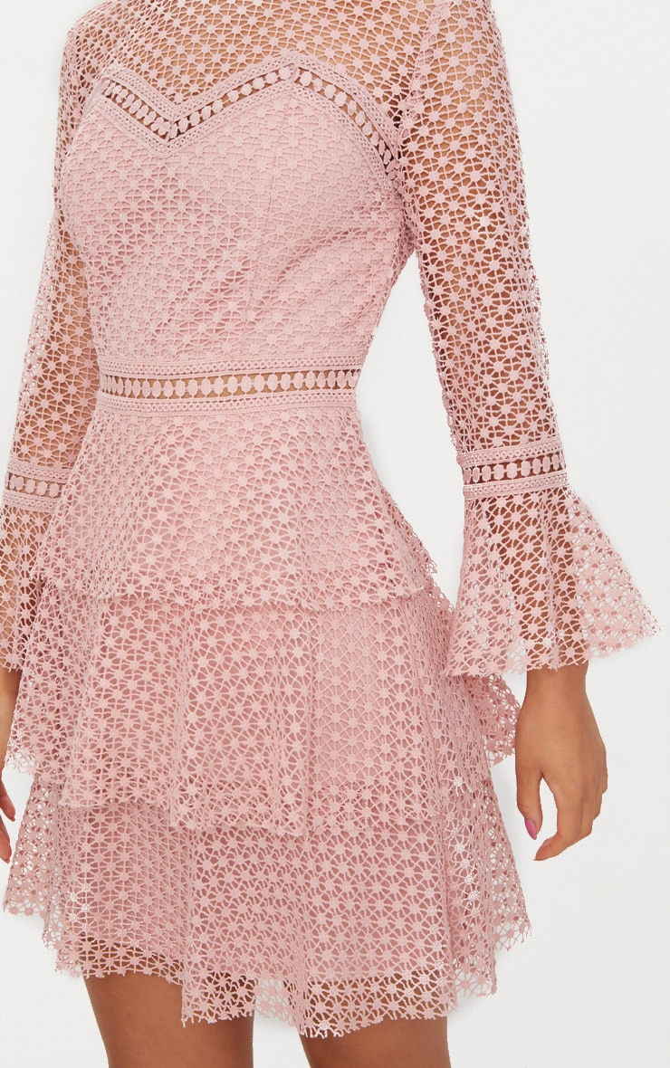 Dusty Pink Flare Sleeve Lace Tiered Mini Dress  5
