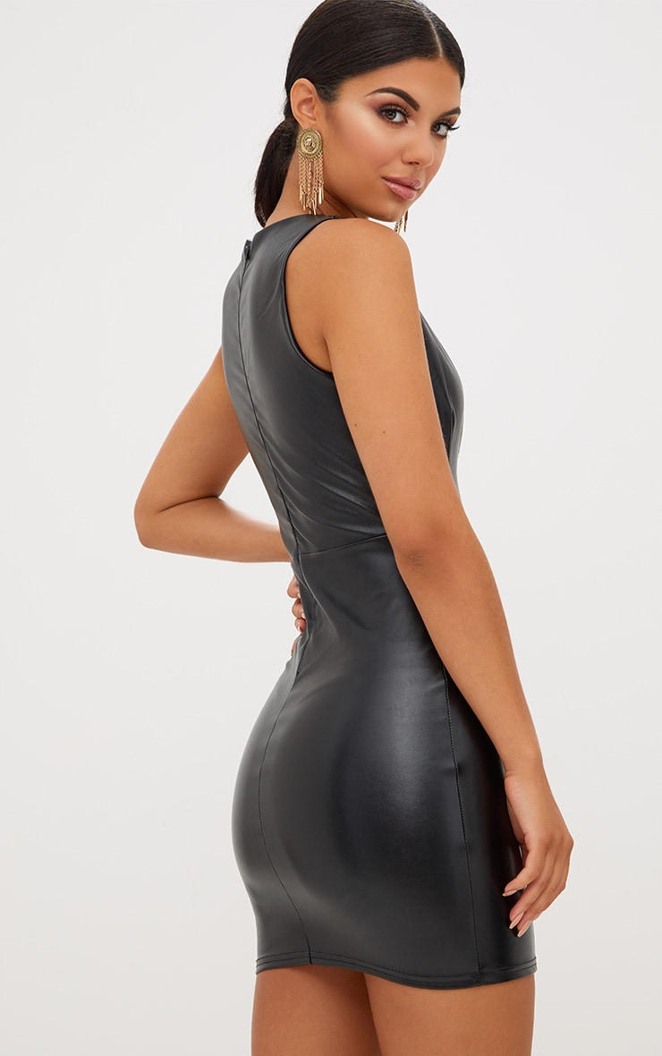 Black PU Plunge Bodycon Dress 3