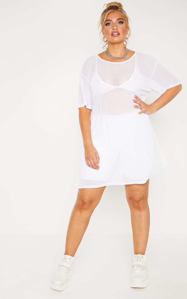 Plus White Sheer Mesh Oversized T Shirt Dress  4