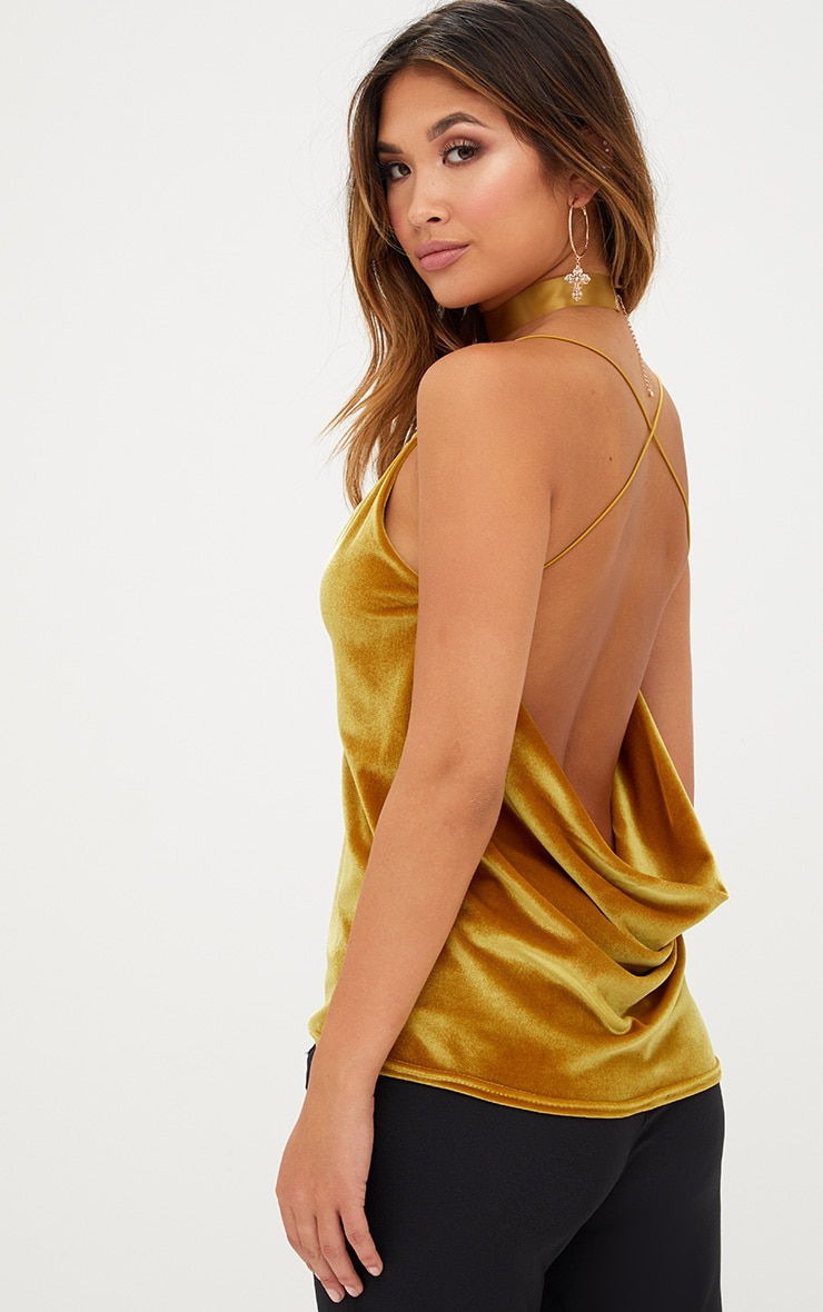 Mustard Velvet Scoop Back Strappy Cami 1