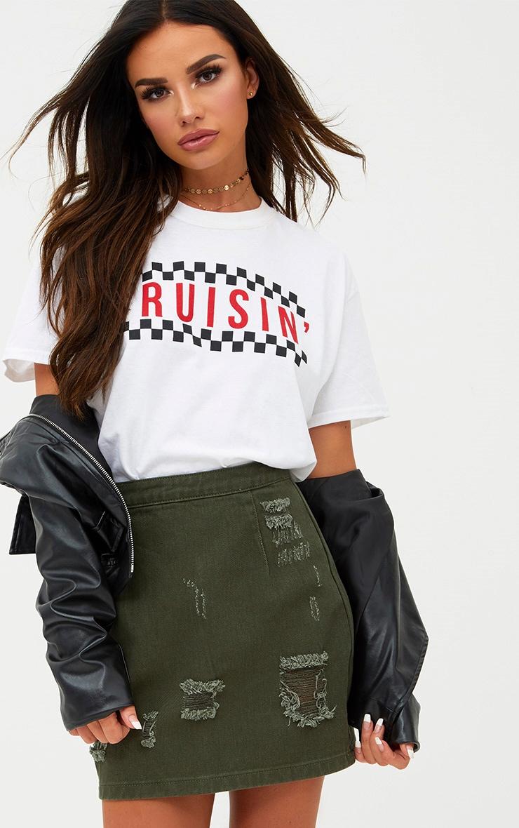Khaki Distressed Rip Denim Mini Skirt 1