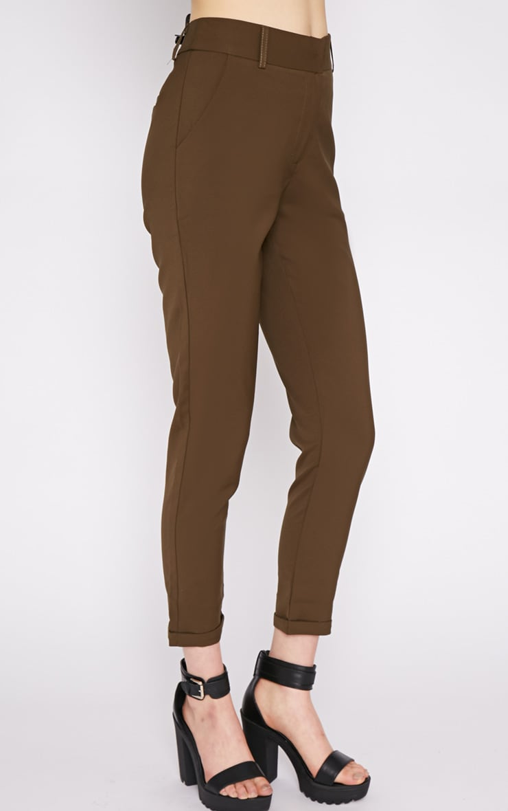 Christen Khaki Cigarette Trouser  4
