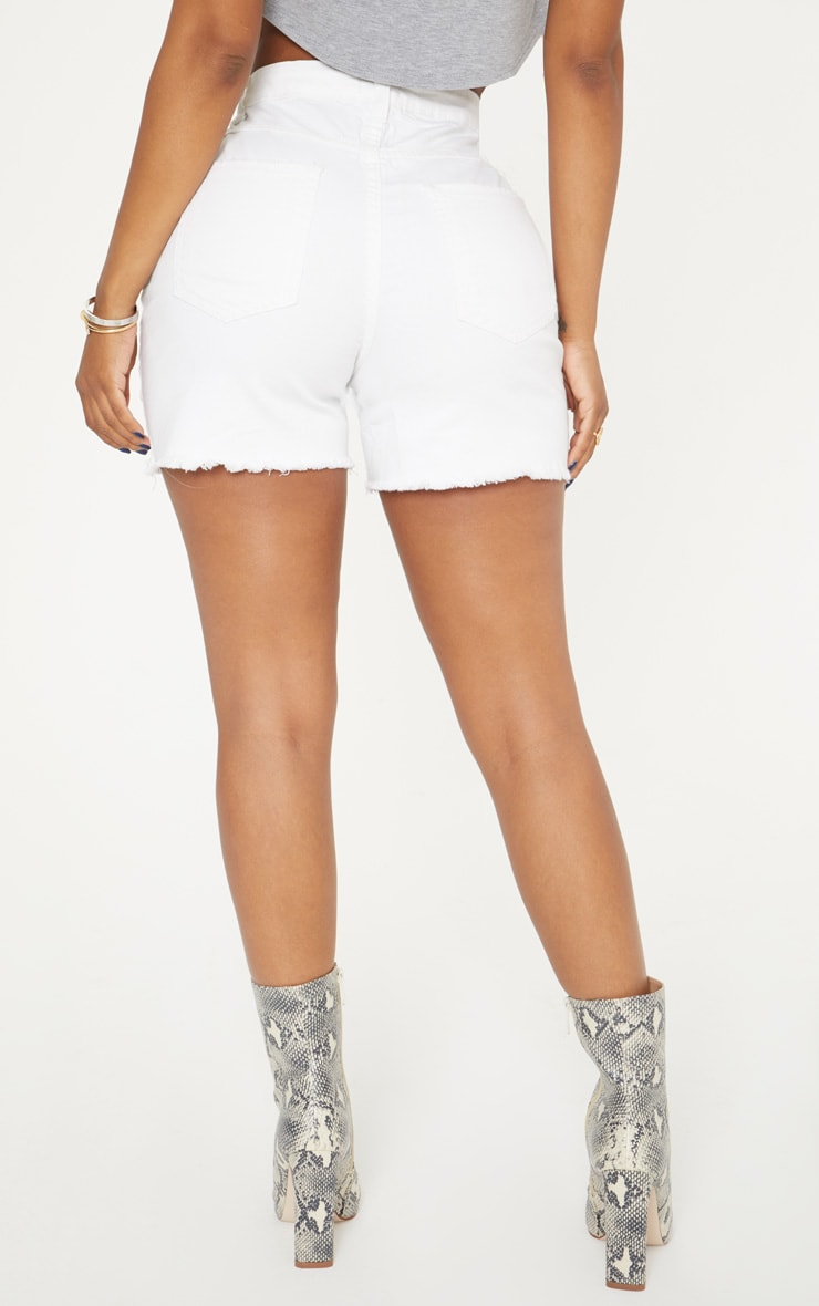 Shape White High Waisted Denim Shorts 5