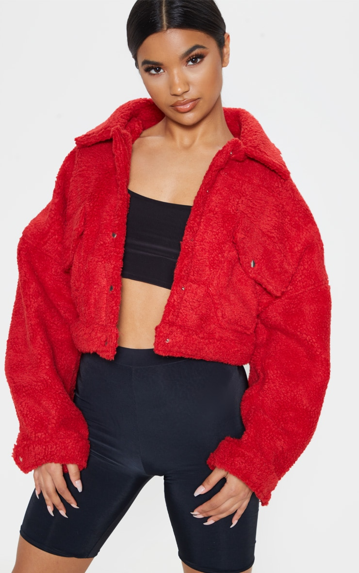 Red Borg Cropped Trucker Jacket  1