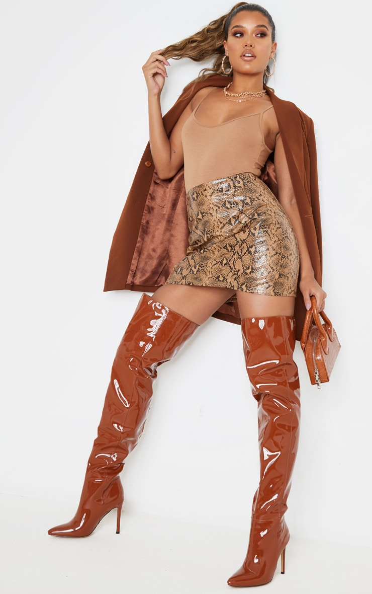 Stone Textured Faux Leather Snake A Line Skirt 2