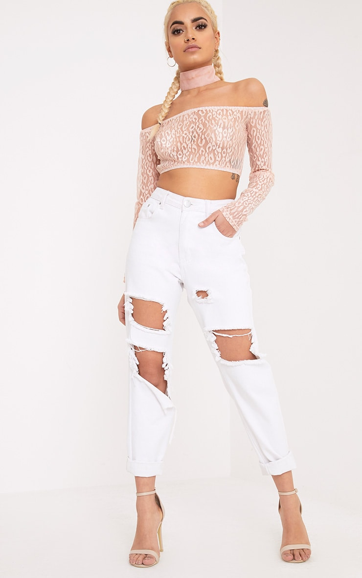Knox Pink Leopard Mesh Bardot Long Sleeve Crop Top 4