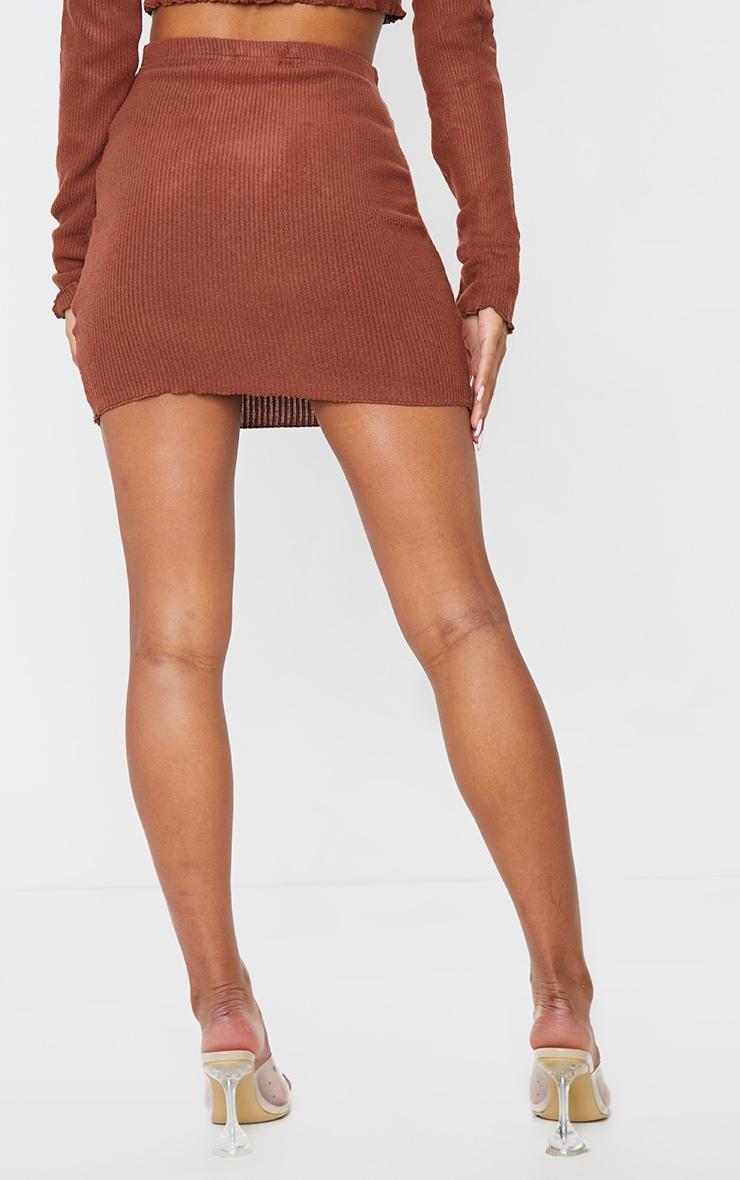 Brown Brushed Rib Frill Hem Mini Skirt 3
