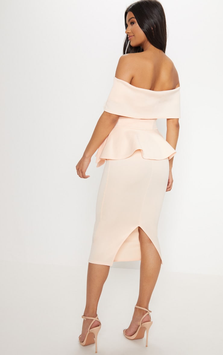 Nude Bardot Peplum Midi Dress 2