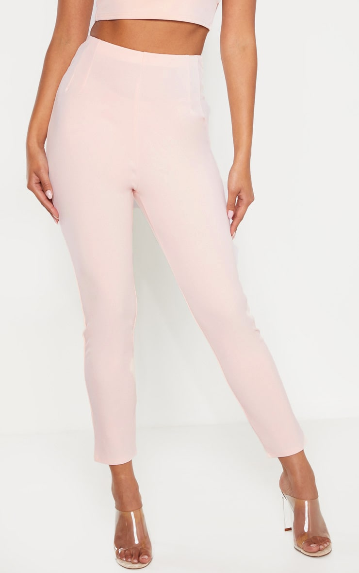 Pale Pink High Waisted Pleated Front Detail Skinny Pants 2