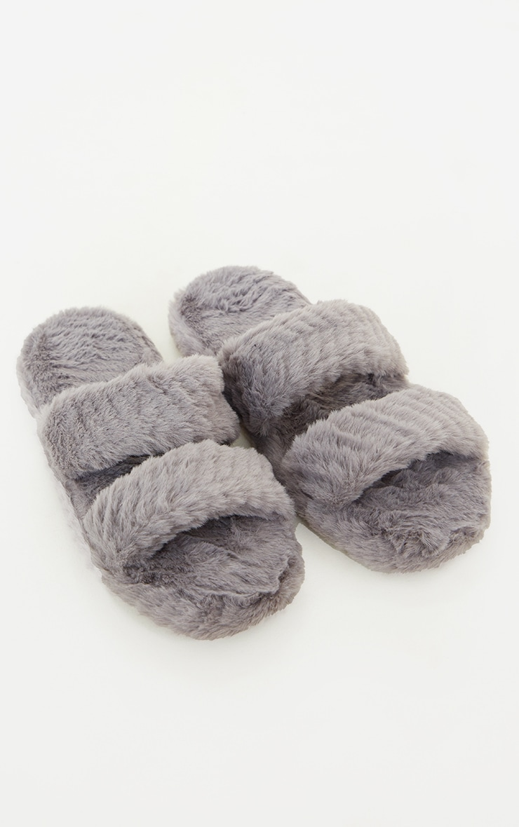 Grey Chevron Quilted Fluffy Two Strap Slippers 4