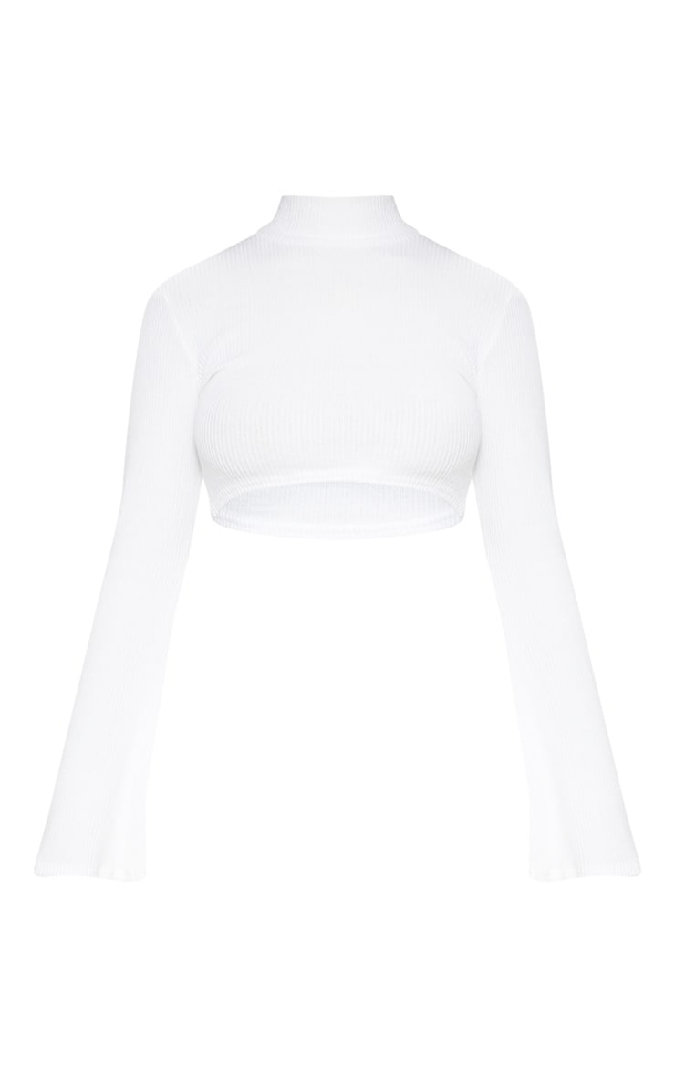Cream Knitted Roll Neck Crop Top 3