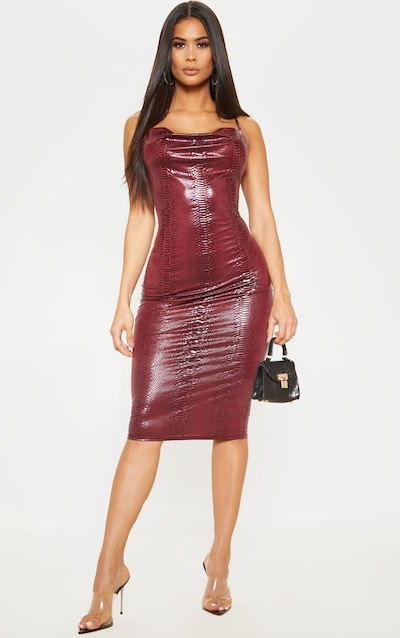 Plum Croc Strappy Midi Dress