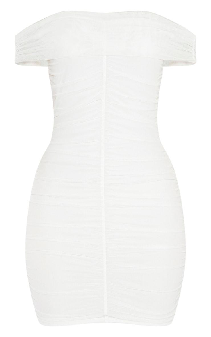 White Mesh Bardot Ruched Bodycon Dress 3