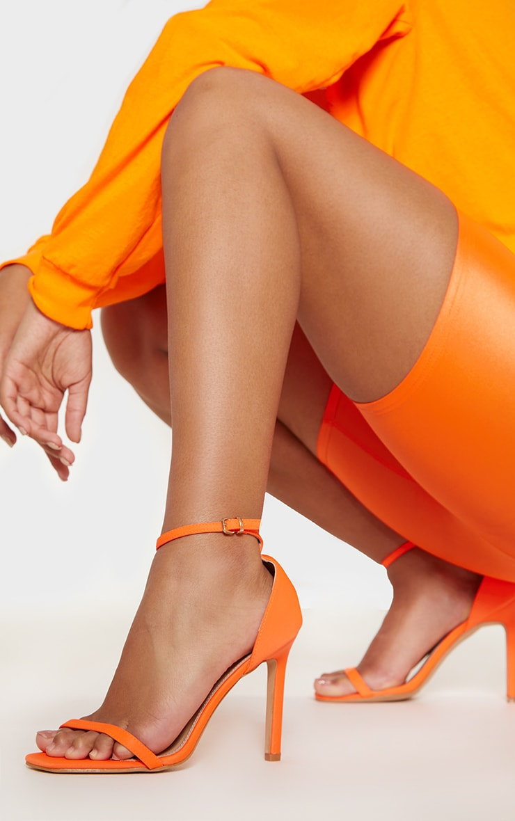 Neon Orange Thin Strap Square Toe Strappy Sandal 1