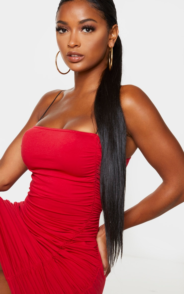 Shape Red Cotton Spaghetti Strap Ruched Bodycon Dress 4