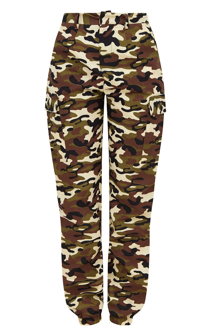 Stone Camo Print Cargo Trousers 3