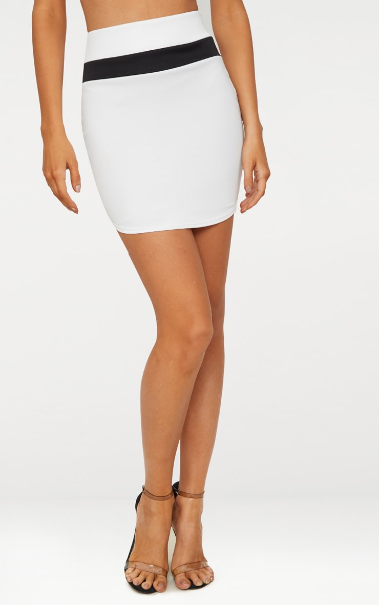 White Scuba Contrast Panel Curve Hem Mini Skirt  2