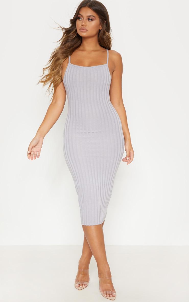 Grey Knitted Rib Midi Dress