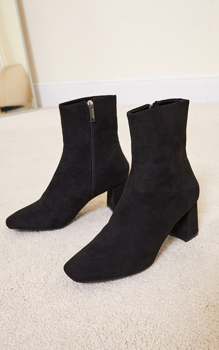Black Faux Suede Low Heeled Ankle Boots 3