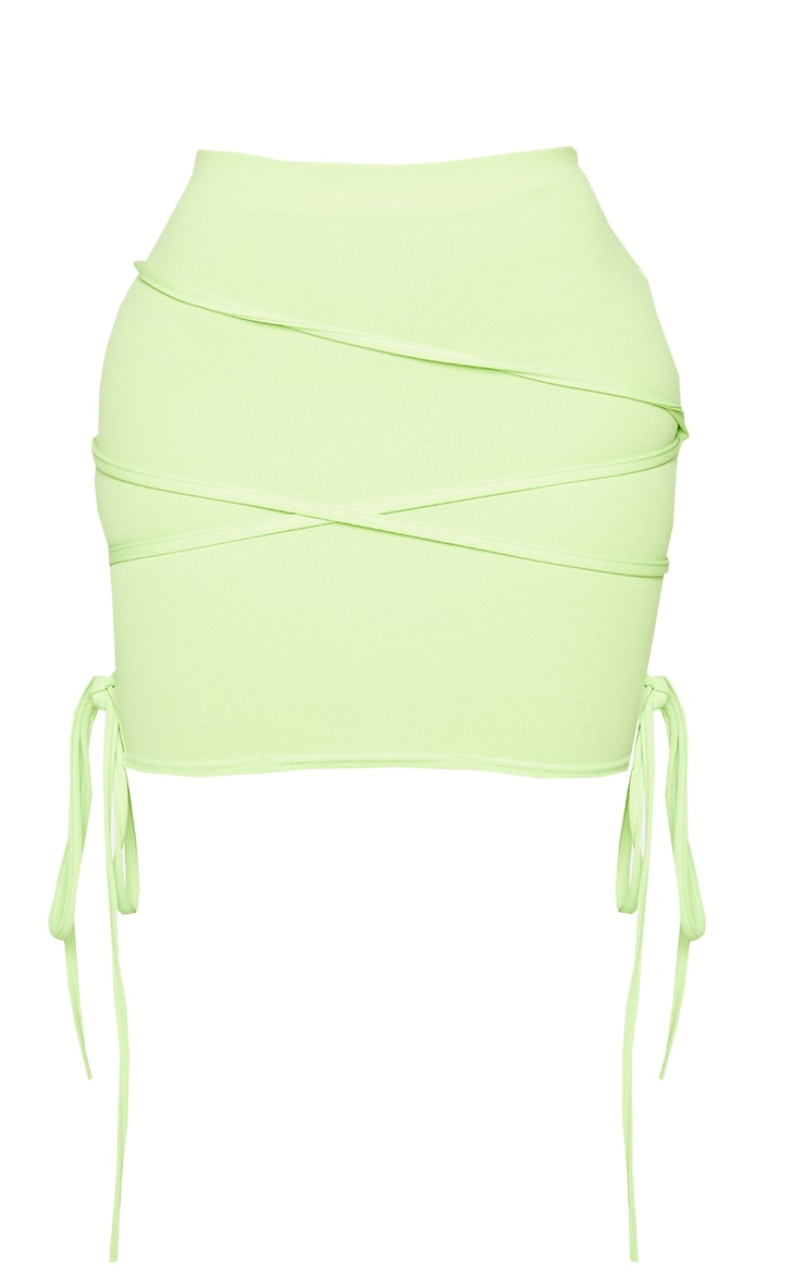 Shape Lime Extreme Tie Detail Wrap Bodycon Skirt 6