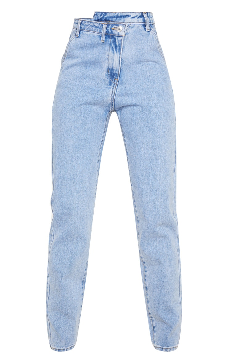 Light Blue Wash Asymmetric Waistband Jeans 5