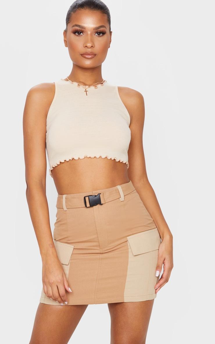 Stone Cargo Pocket Belted Mini Skirt 5