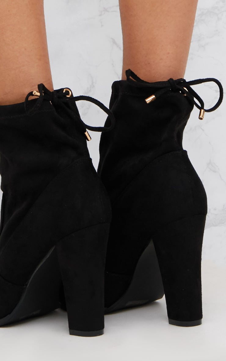 Black Faux Suede Heeled Ankle Boot 5