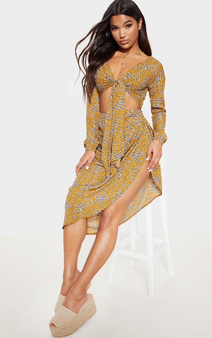 Mustard Satin Leopard Print Tie Front Shirt 4
