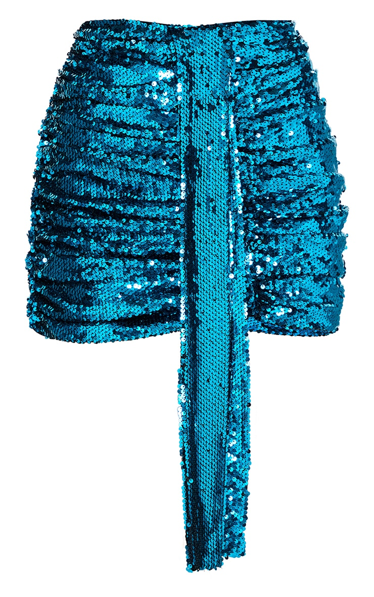 Teal Sequin Drape Skirt 6