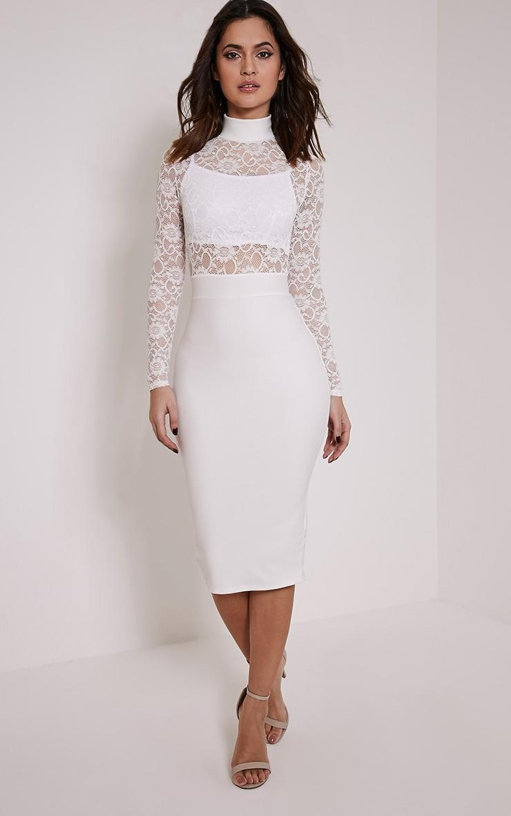 Kizzy White Lace Top Midi Dress 4