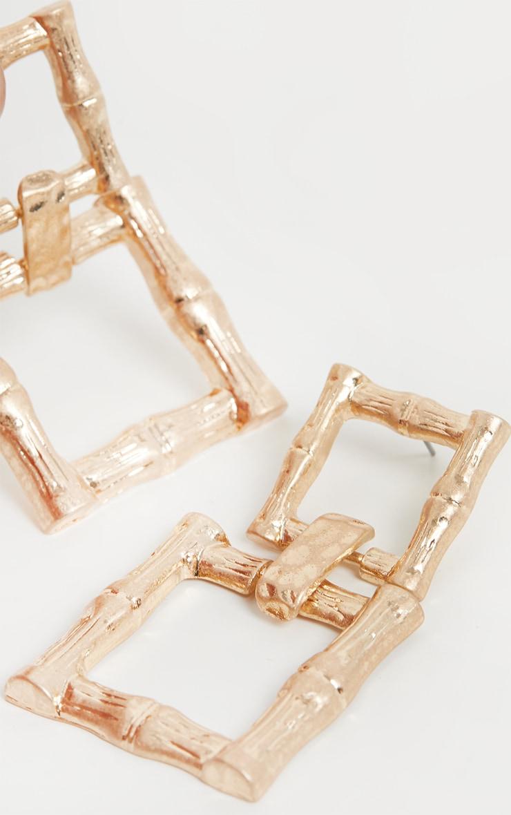 Gold Bamboo Double Square Drop Door Knocker Earrings 3
