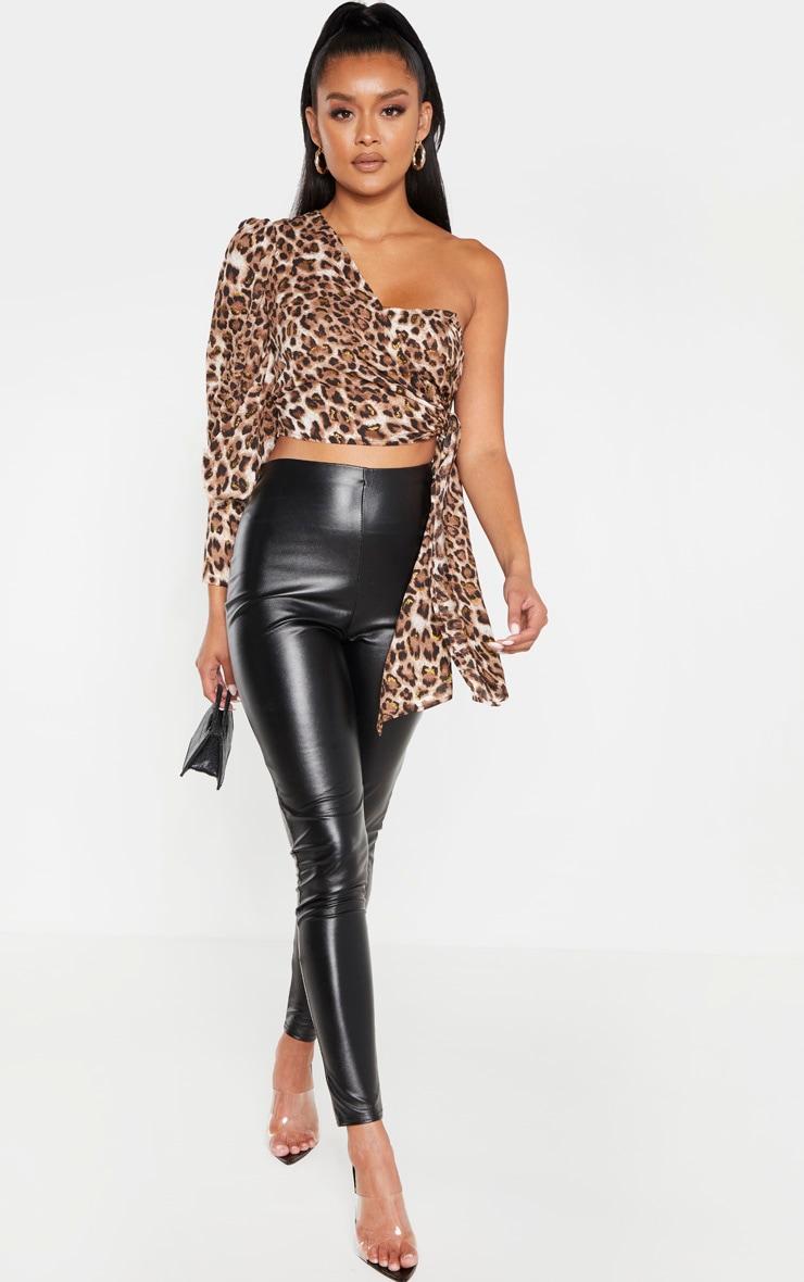 Tan Leopard One Shoulder Tie Side Crop Blouse 4