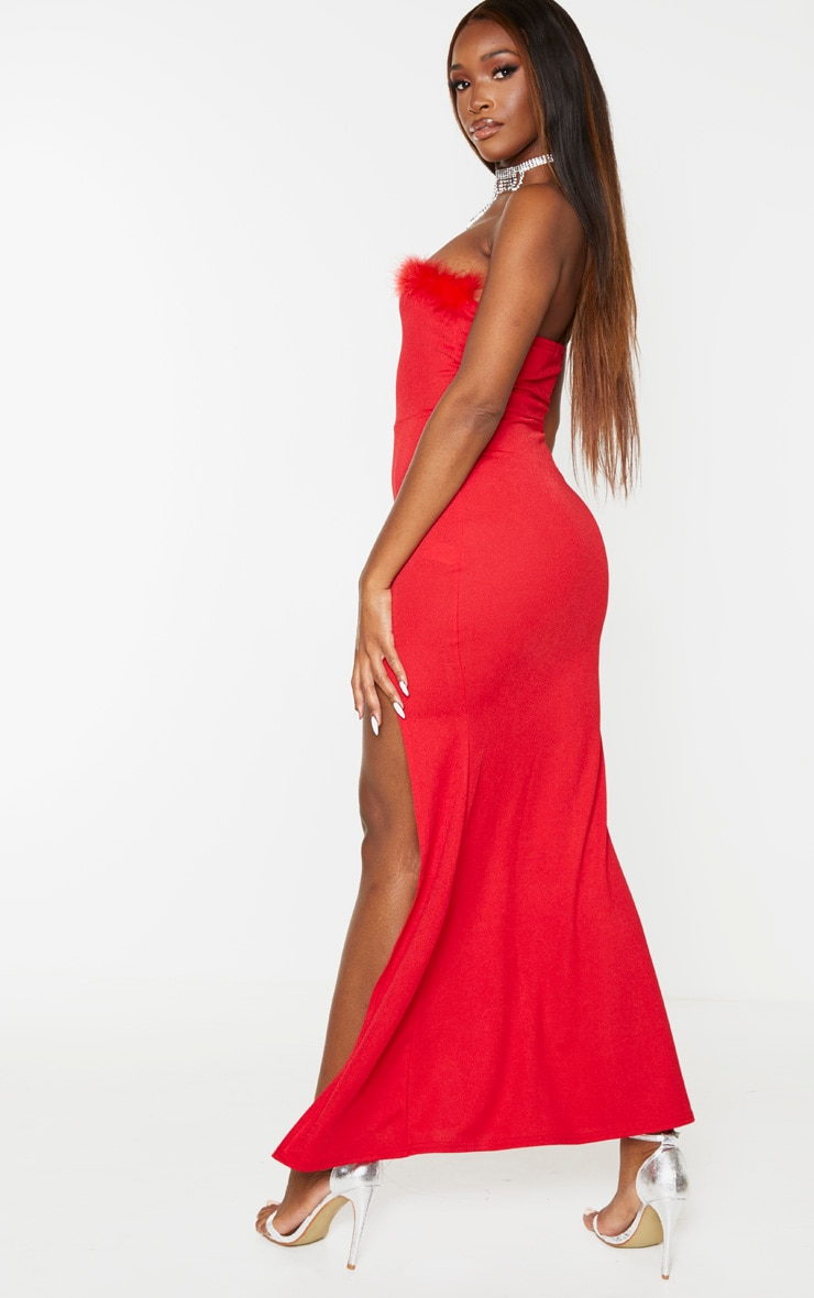 Red Feather Trim Bandeau Maxi Dress 2