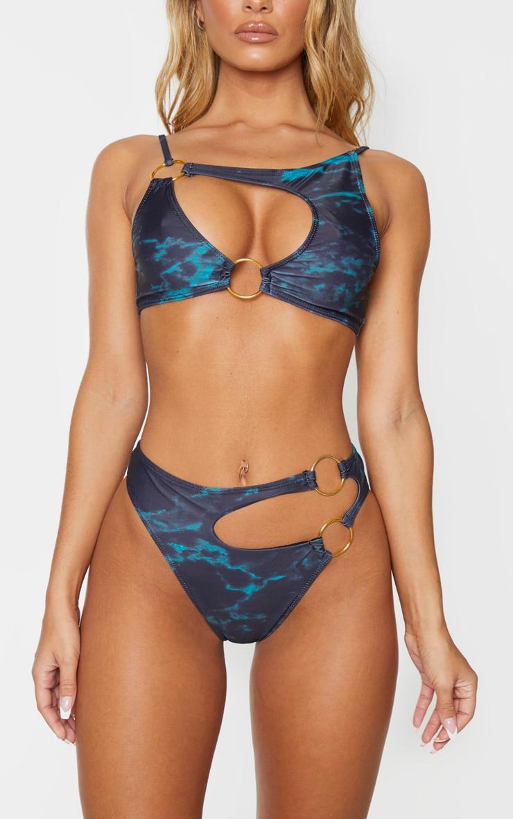 Black Marble Print Minimal Ring Cut Out Bikini Bottoms 1