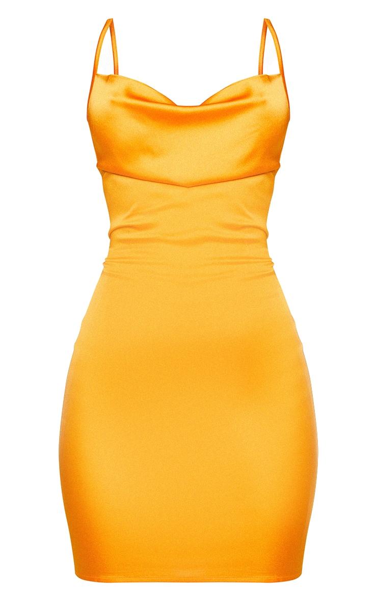 Golden Orange Satin Cowl Lace Up Bodycon Dress 6